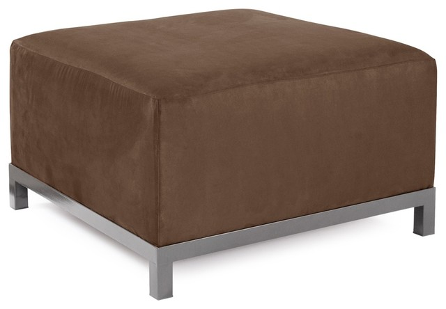 Microsuede Chocolate Axis Ottoman Slipcover contemporary-footstools-and-ottomans