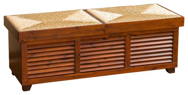 Cooper Weave Top Mahogany Sliding Storage Ottoman Coffee