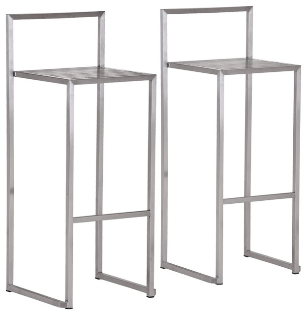 zuo dalton stainless steel bar stool set of 2 contemporary living room chairs. Black Bedroom Furniture Sets. Home Design Ideas