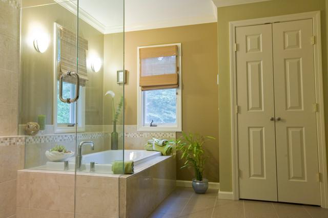 Stylish Master Bathroom with Glass Sinks contemporary-bathroom