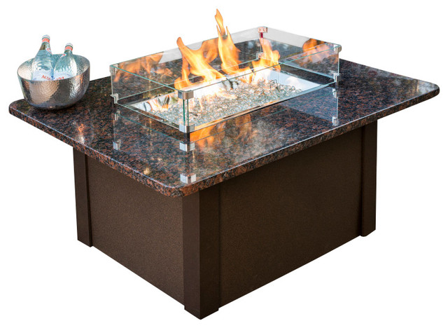 Grandstone Chat Height Gas Fire Pit Table With Brown Metal Base traditional-fire-pits