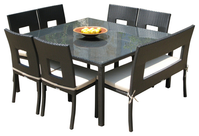 Outdoor Wicker Resin 8 Piece Square Dining Table Chairs and Bench Set Conte