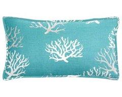 Coastal Blue Coral Lumbar Pillow beach-style-decorative-pillows