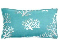 Coastal Blue Coral Lumbar Pillow beach-style-pillows