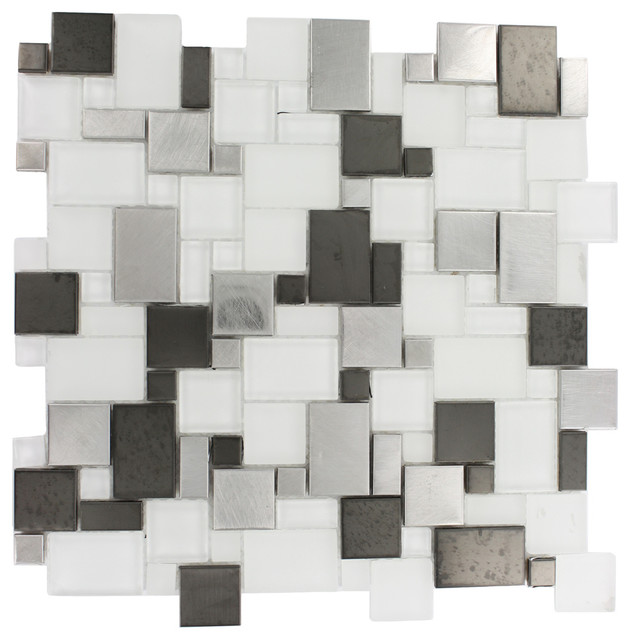 Breeze Steel Ice Piazza Pattern Contemporary Tile By