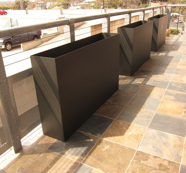 Tatami Plate Steel Planters Modern Outdoor Pots And