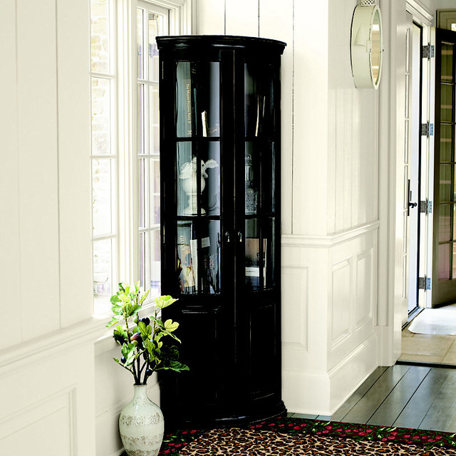 Full Chilton Curved Corner Cabinet Black Traditional