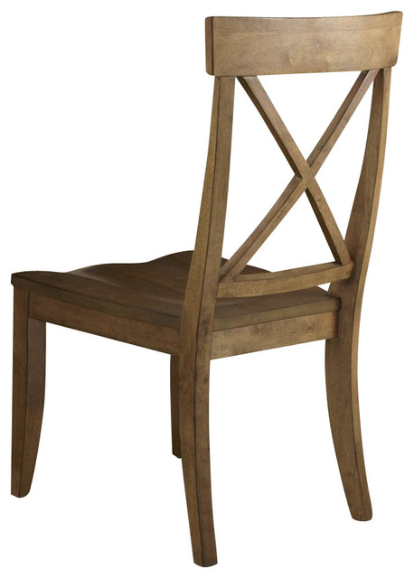 Liberty Furniture Keaton Transitional Side Chair w/ X Back in Medium Wood (Set o traditional-dining-chairs