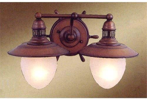nautical antique red copper two light bath fixture