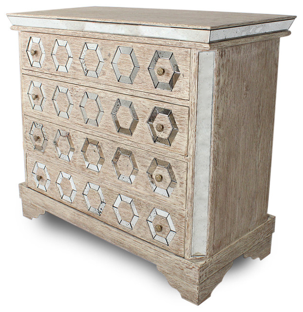 Geometric french manor mirrored antique octagon dresser chest transitional dressers by Antique bedroom dressers and chests