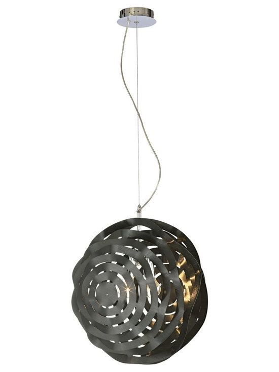 "Eurofase - Black Sereniti 2-Light Pendant Chandelier - The interlaced look of this pendant light is eye-catching. The cut design of the black painted aluminum creates a distinctive patterned shade. Chrome and black finish. Aluminum construction. Takes two 60 watt medium bulbs (not included). Shade is 19 1/4"" wide and 21"" high. 141"" overall height.  Chrome and black finish.  Aluminum construction.  Takes two 60 watt medium bulbs (not included).  Shade is 19 1/4"" wide and 21"" high.  141"" overall height."