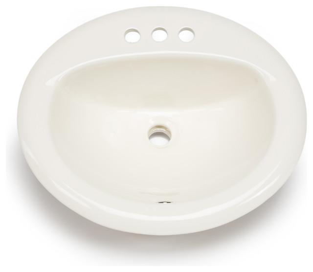 Hahn Ceramic Bathroom Large Oval Bowl Drop In Bisque