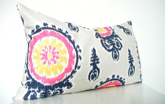 Blue And Pink Decorative Pillows : Designer Ikat Long Bolster Pillow in Navy Blue, Pink, Gray - Modern - Decorative Pillows ...