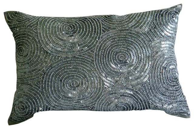 Silver Decorative Bed Pillows : Touch Lumbar Decorative Throw Silver Silk Throw Pillow Cover, 20x26 - Contemporary - Bed Pillows ...