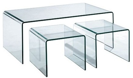 3 piece all glass nesting cocktail table contemporary