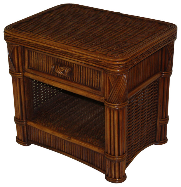 Rattan 1 Drawer Nightstand Barbados Tropical Furniture By Wicker Paradise