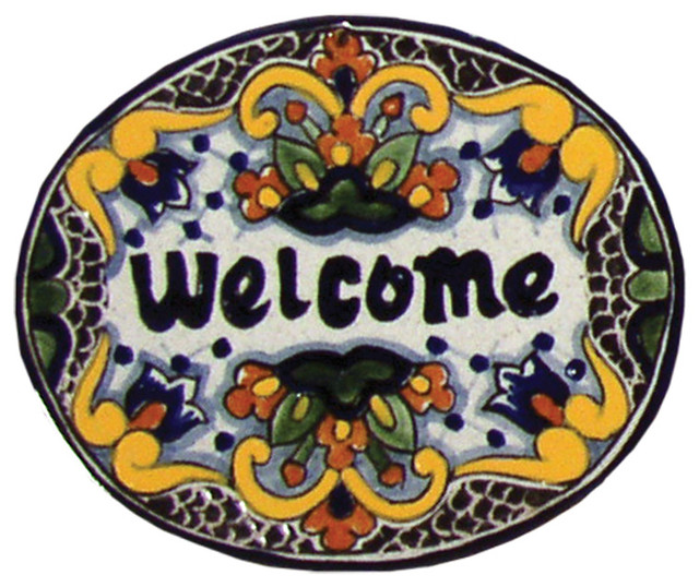 Tile Welcome Plaque In Zinnia Small