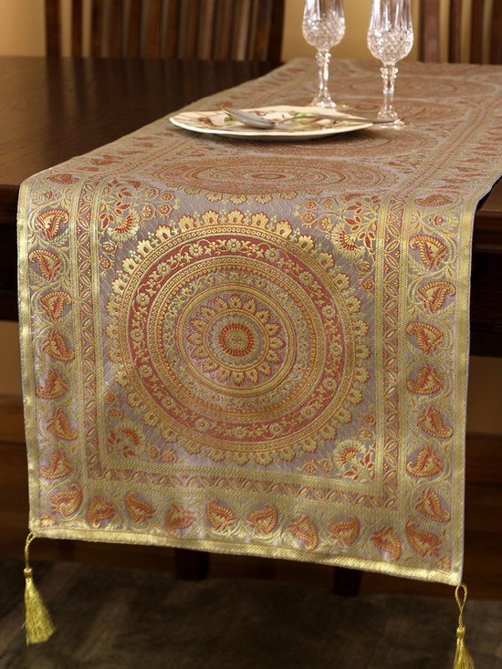 """Elegant Table Runners - Elegant """"Exotic Oriental Table Runner"""" Golden Silver color. Hand crafted in India."""