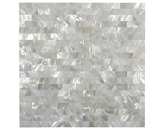 White Brick Groutless Pearl Shell Tile contemporary-tile