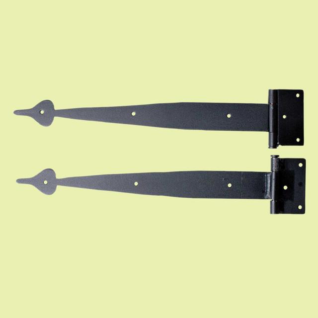 Door Hinges Black Wrought Iron Strap Door Hinge Pr Spear 14'' | 21008 - Rustic - Hinges - by The ...