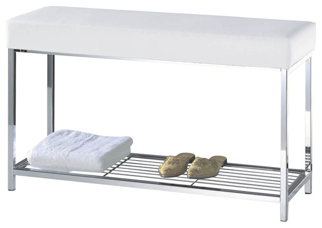 Harmony bench with shelf in chrome with black or white top contemporary bathroom accessories for Black and chrome bathroom accessories