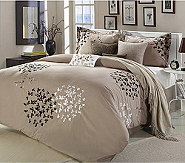 cheila taupe 8 piece comforter set contemporary. Black Bedroom Furniture Sets. Home Design Ideas