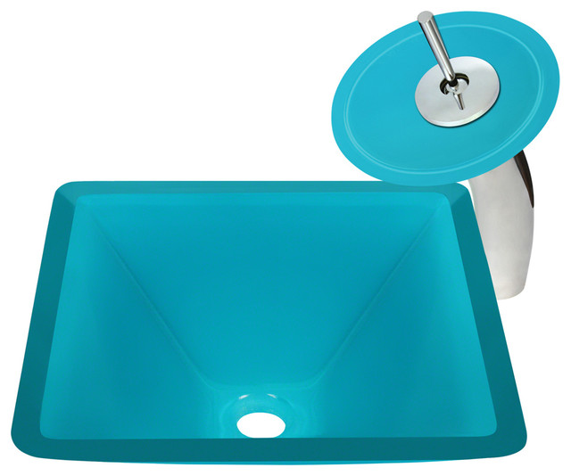 Turquoise Colored Glass Sink Modern Bathroom Sinks