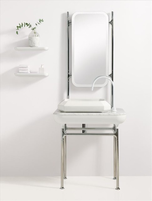 Small Tabletop with Metal Frame contemporary bathroom vanities and sink consoles