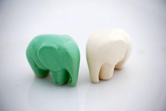 Elephant Ceramic Figurine Snowflake White By Claylicious