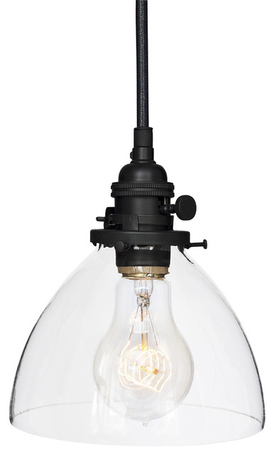 hand blown 6 clear glass pendant light matte black modern pendant