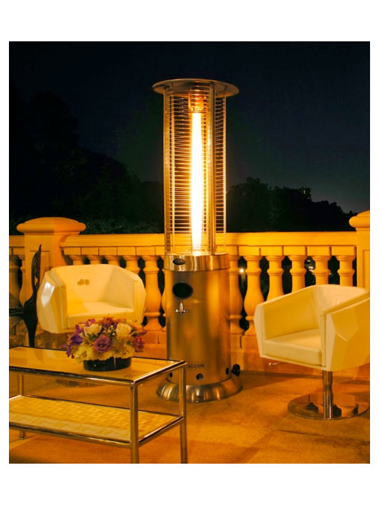 Lava Heat Opus G7 Propane Flame Patio Heater - Available in bronze and stainless steel options, the Lava Heat Opus G7 Propane Flame Patio Heater comes with a 10-year warranty and can provide enough heat to warm areas up to 36-square feet. -Mantels Direct