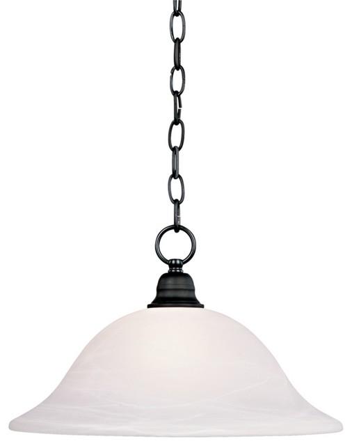 "Transitional Matte Black Finish 9"" High 16"" Wide Pendant Light traditional-pendant-lighting"