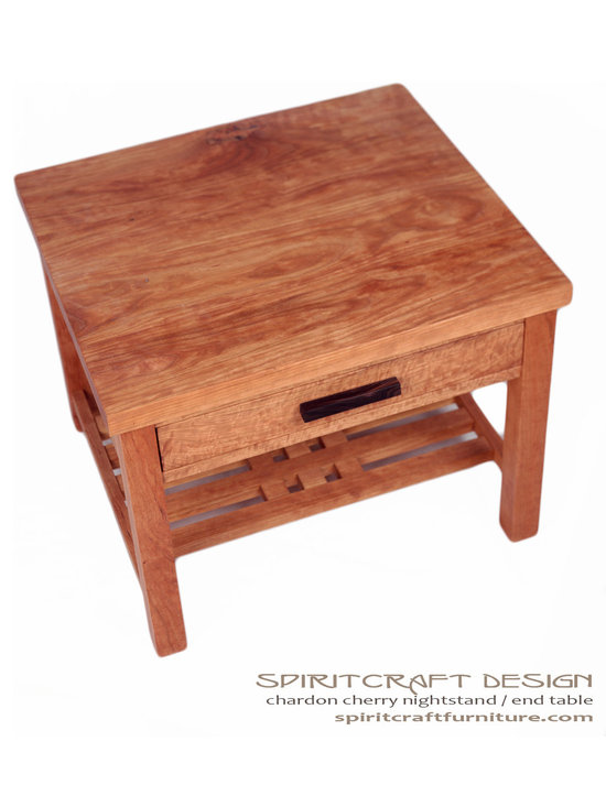 The Charddon End Table - Nightstand in Cherry and Ebony -