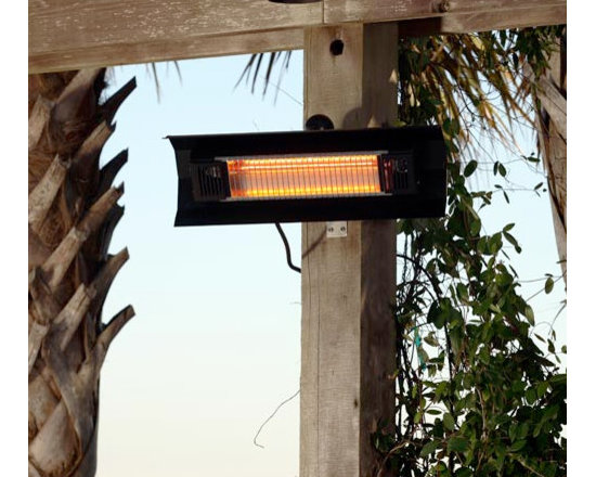 Fire Sense Black Steel Wall Mounted Infrared Patio Heater - Made for indoor and outdoor usage, the Fire Sense Black Steel Wall Mounted Infrared Patio Heater will produce enough heat to warm a 9-foot area. -Mantels Direct