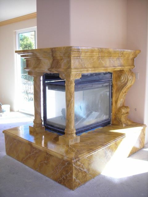 Faux Marble Fireplaces traditional-indoor-fireplaces