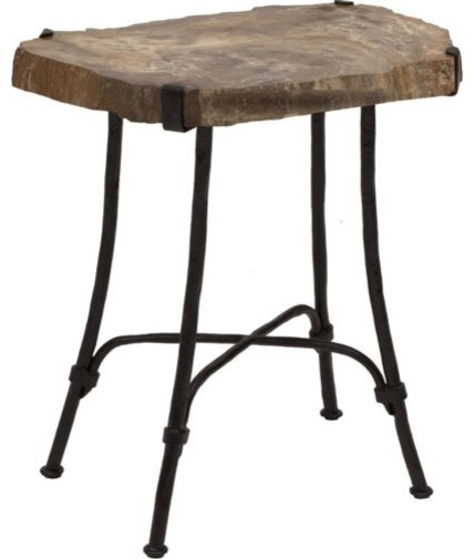 Petrified Wood Slab Side Table eclectic-side-tables-and-end-tables
