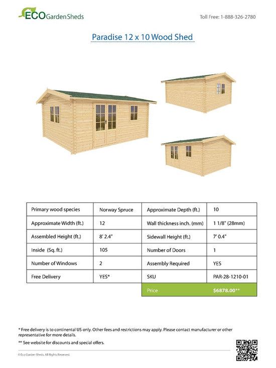 Paradise 12 x 10 Wood Shed / Pool House - ECO Garden Sheds. All natural wood 12 x 10 Traditional pool house / wood shed -- Paradise. 12 x 10 Wood Shed Brochure.