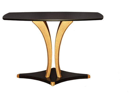 Contemporary Art Sofa/Side Table - Shown in Ebonized African Sapele Wood