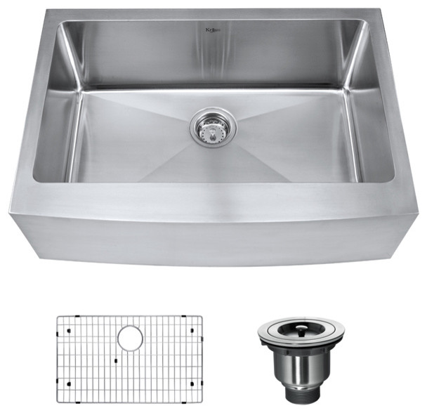 33 Inch Stainless Steel Farmhouse Sink : 33 inch Farmhouse Single Bowl 16 gauge Stainless Steel Kitchen Sink ...