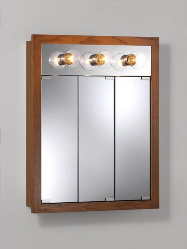 Surface Mount Cabinet with Three Bulbs in Honey Oak - Modern - Medicine Cabinets - by Wayfair