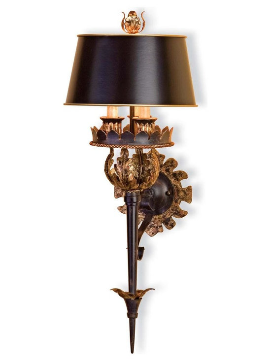"Currey & Company The Duke Wall Sconce - The Currey & Company Presents The Winterthur Archive Collection's The Duke Wall Sconce With a Zanzibar Gold Leaf Finish. Features a Zanzibar Black Shade. Switch Type: Rotary Switch. Product Dimensions: 27"" High By 10"" Wide. Extends 12"" From Surface. Approximate Item Weight: 7 Lbs. Shade Size:5.5x10x8."