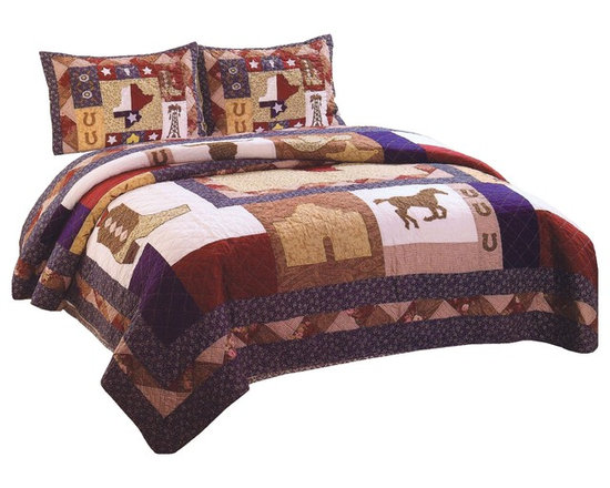 American Traditions - Texas Pride Full Queen Quilt and Shams - The great state of Texas inspires this classic country quilt. Patriotic in the with the red, white, and blue colors this quilt features icons of the lone star state like the Alamo, cowboy boots and oil rigs. This is a great quilt for making that wild west themed room or just bringing a fun quilt into a patriotic setting. Texas Pride Full / Queen Quilt and Shams features: Full / Queen Quilt measures 86 inches by 86 inches and 2 standard size 20x26 inch shams. Pre washed and pieced 100% cotton face cloth. Filled with 100% polyester. Machine washable. Made in China. Items not specified are sold separately.
