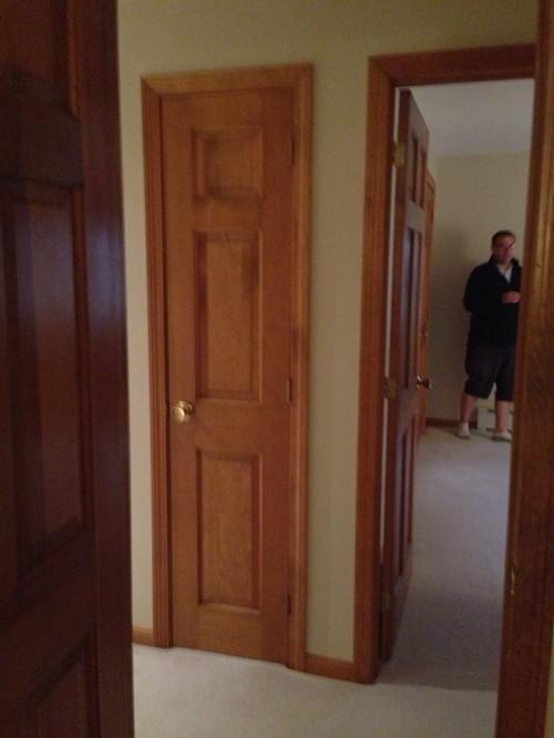 White Trim With Oak Doors
