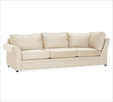 Pearce Upholstered Left Arm Return Sofa, Down-Blend Wrap Cushions, everydaysuede traditional-sofas