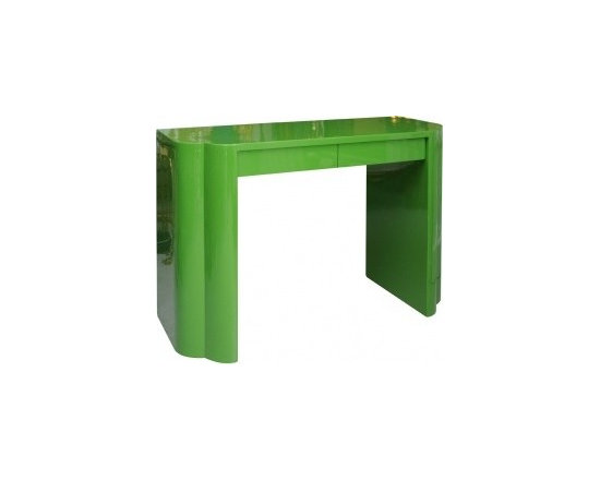 Eco Friendly Furnture and Lighting - Deco Style Vanity Table.U.S.A. 20th Century Hollywood style green lacquer dressing table.