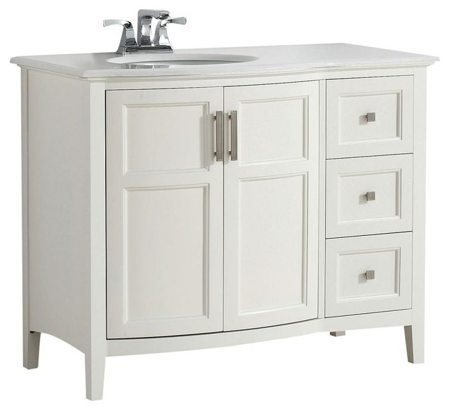 Simpli Home Cabinets Winston 43 in. W Vanity in White with ...