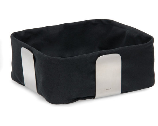 Blomus - Desa Bread Basket - Large, Black - The Desa Bread Basket from Blomus is available in your choice of 4 colors and 2 sizes. Made with brushed stainless steel and cotton fabric.