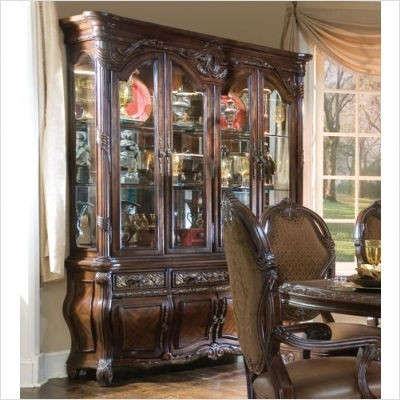 AICO Furniture - Essex Manor China Cabinet in Deep English Tea - 76005/76006 transitional-fabric