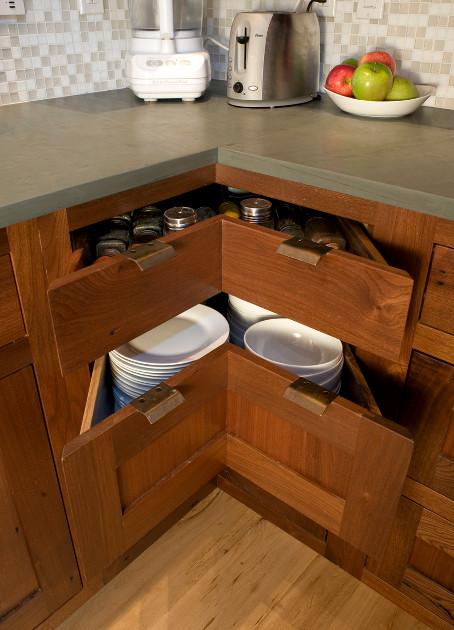 Walnut Corner Cabinetry Drawers kitchen-cabinets