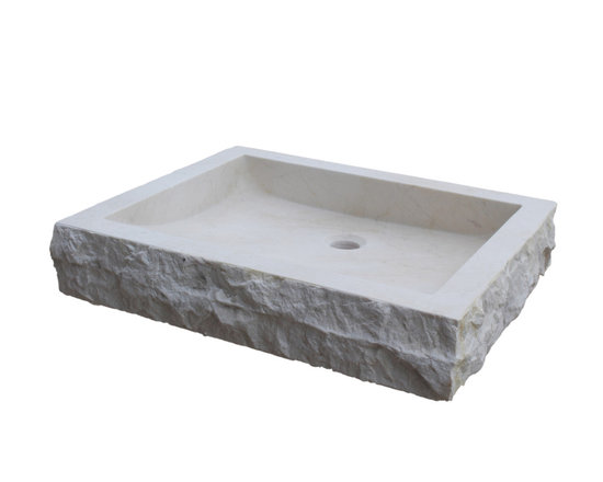 TashMart - Chiseled Rectangular Natural Stone Vessel Sink, Beige Marble - The Chiseled Rectangular Vessel Sink in light travertine is made from one solid piece of natural stone.  This sink has a chiseled outside edge that adds to the natural beauty of the sink.  This sink is the perfect option for your home or restaurant project.  This sink is available in light travertine, noce, sea grass and beige marble.